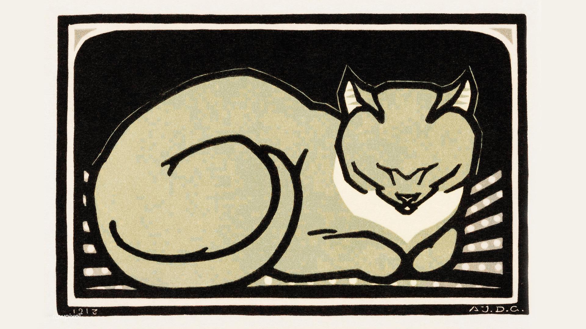 """Los jefes de todo esto - Imagen """"Sleeping Cat"""" de Julie de Graag (1877-1924). Original del Rijks Museum, digitalizada por rawpixel."""